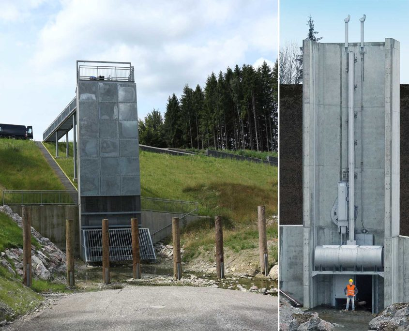 Self-powered flow regulator for floodwater retention facility on the Sulzberger Bach