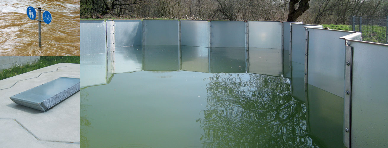HydroSwizz zig-zag floodwater barrier