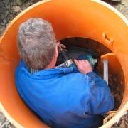 Repair work in a tight space.