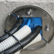 Professional workmanship demonstrated here by gastight und watertight cabling penetration.